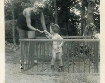 "Vintage Photo ""Mother Bringing Cracker Treats"" Girl Snapshot Antique Photo Black & White Photograph Found Paper Ephemera Vernacular - 79"