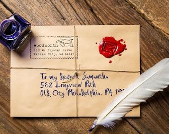 Personalized Address Stamp - Custom Stamp - Vintage - Typewriter - DIY Printing - Housewarming - Wedding - Pointing Hand - Home Office Stamp