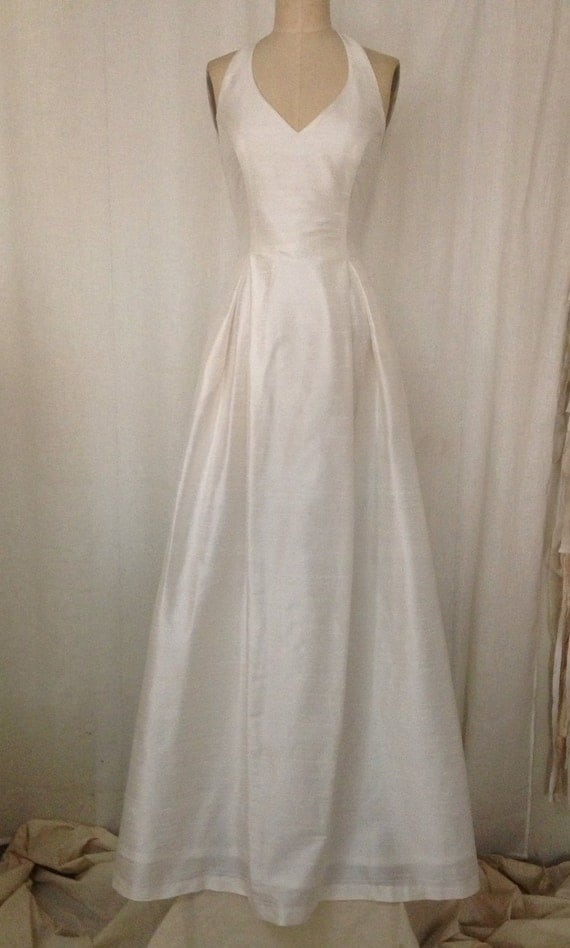 Off white simple halter wedding gown with full a line skirt for Simple off white wedding dresses