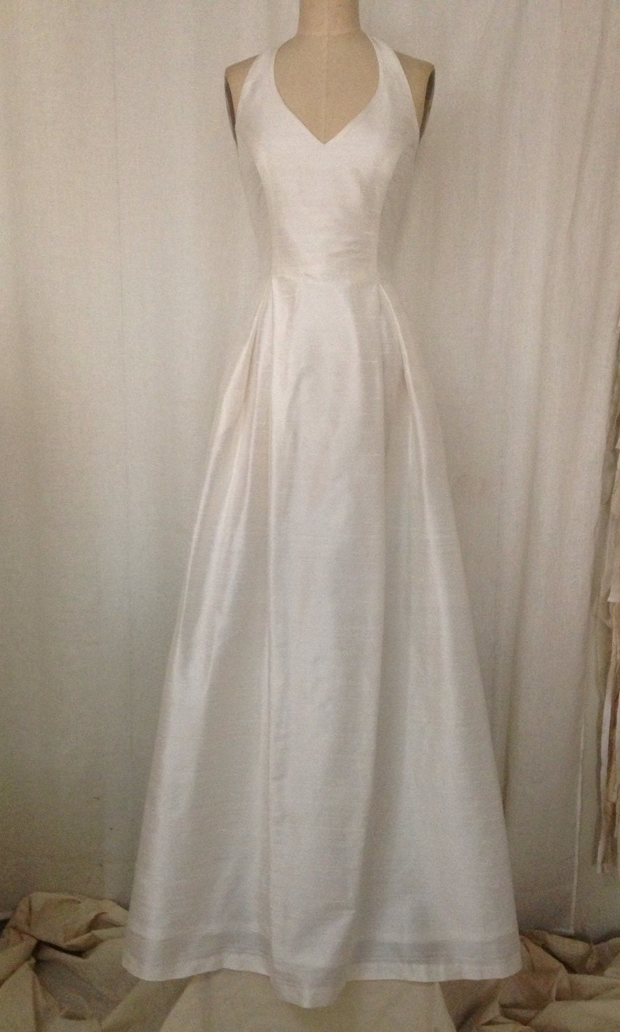 Off White Simple Halter Wedding Gown With Full A Line Skirt