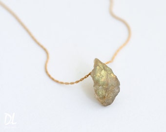 Raw Labradorite Necklace - Rough Labradorite Gemstone Crystal Nugget Boho Style Layering Jewelry - Birthday Gift