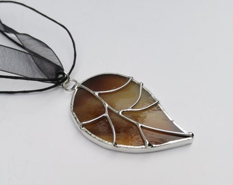 Brown and caramel stained glass leaf pendant with wire work free shipping handmade one of a kind