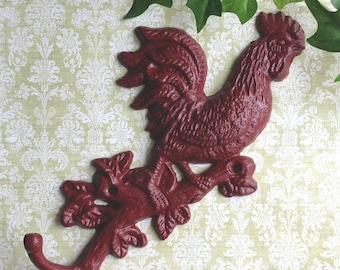 Red Cast Iron Rooster Double Wall Hook Towel holder Farm Country Cottage Rustic Decor R