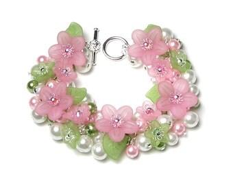Springtime Love Pastel Pink & Green Floral Charm Bracelet, Swarovski Crystal, Pearl Cluster Bracelet, Flower Jewelry, Pretty Gift for Women