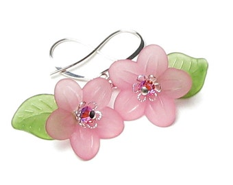 Springtime Love Pastel Pink & Green Floral Swarovski Crystal Silver Earrings, Apple Blossom Spring Flower Jewelry, Fun Mother's Day Earrings