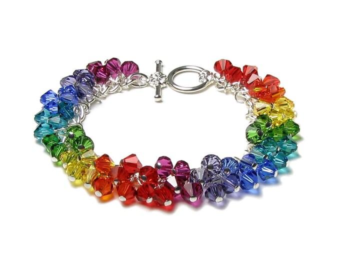 Swarovski Crystal Rainbow Colors Charm Bracelet Red Orange Yellow Green Blue Purple Silver Friendship Bracelet Crystal Clusters Women's Gift