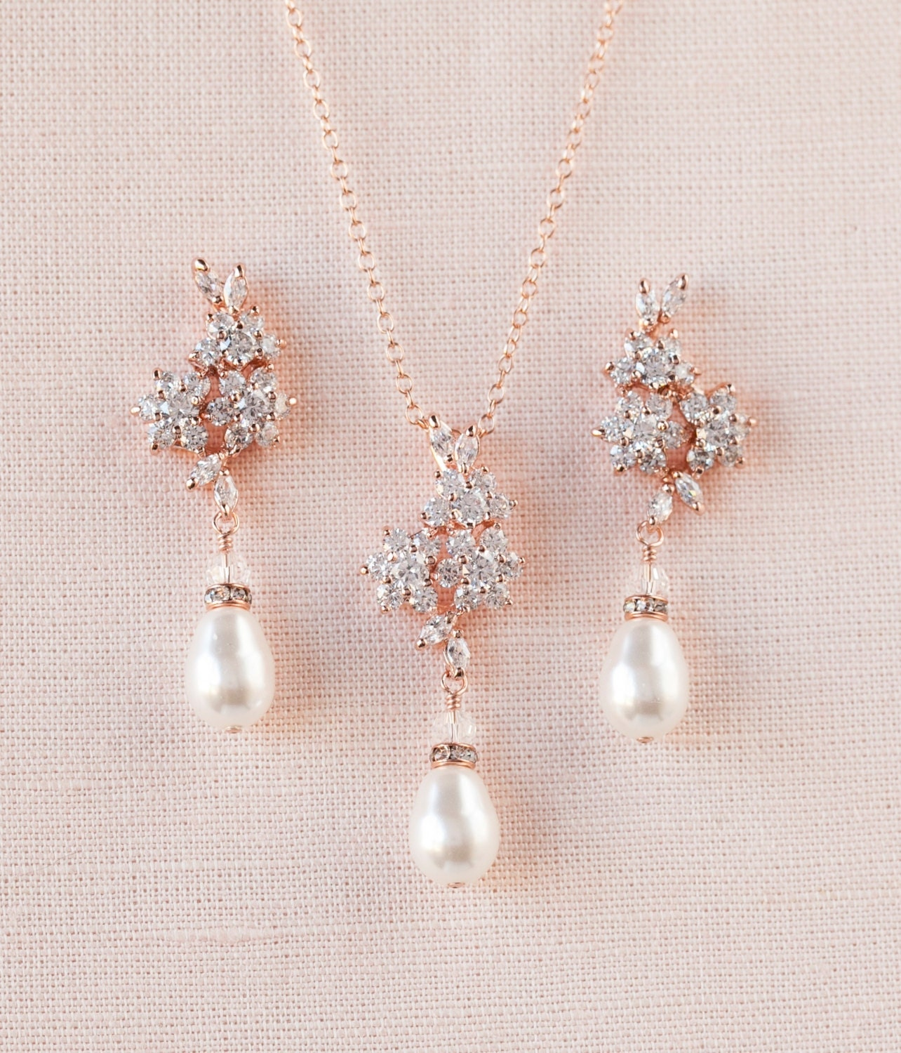 Rose Gold Bridal Necklace Rose Gold Wedding Earrings Pearl