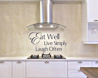 Kitchen Vinyl Decal Eat Well Live Simply Laugh Often   Kitchen Wall Decals    Kitchen Decor