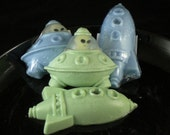 Reserved Listing for Brett:  Spaceship Soaps with Glow-in-the-Dark Alien Toy