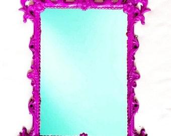 Hollywood Regency Vintage purple mirror: ornate purple pink mirror  home decor - purple  - princess room - nursery decor - bathroom mirror