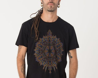 Mens T shirt, Screen Printed, Tribal Shirt, Psychedelic, Mandala, Gift For Him, Black, Grey, Brown, Green, S / M / L / Xl