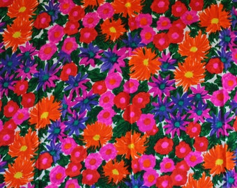 Vintage 1960's Bright Hot Pink + Orange + Purple Floral Fabric