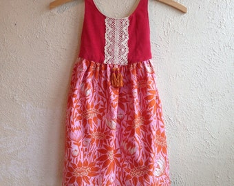 Pink, Orange Floral with Coral Corduroy Flora Dress - Handmade w/Embroidery and Tassels