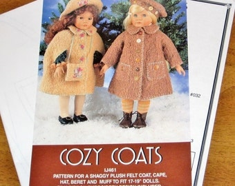 "Indygo Junction IJ461 Doll Clothes, Cozy Coats, Cape, Beret Hat Cap, Muff, Clothing Outfits Fit 17"" 18"" 19"" Dolls Craft Sewing Pattern Uncut"
