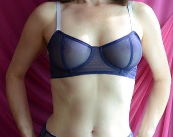Women Sleepwear & Intimates Bras The Sheer Cup Underwire Navy Blue Mesh Bra MADE TO ORDER