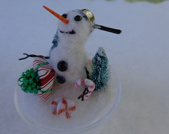 SNOWMAN TREE ORNAMENT Needle Felted Handmade Holiday Gift
