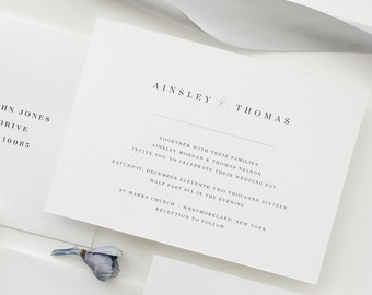 Simple Wedding Invitation Sample - Ainsley | Letterpress Wedding Invitation | Black and White Wedding Invites | Gray Wedding Invitations