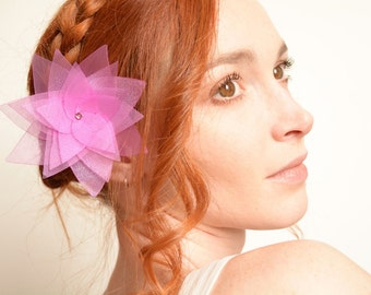 Mauve lotus flower hair pin - organza and Swarovski