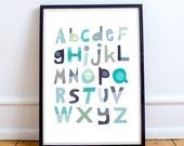 Alphabet nursery decor, alphabet print, alphabet set, alphabet letters, modern nursery, grey alphabet, grey nursery, green decor, orange