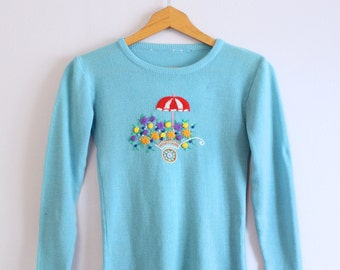 Vintage 1970's Aqua Blue Embroidered Flower Cart Sweater XS/S