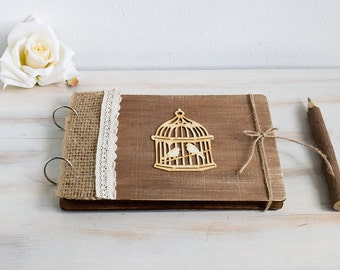 Rustic Guest Book Custom Wedding Guestbook Advice Book Unique Wedding Guestbook Birds Wedding Guestbook Vow Book Anniversary Gift for Couple