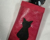 Leather Glasses Case Spectacles Case Holder Sleeve with Black Cat on Red Leather