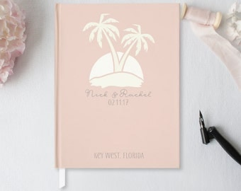 Wedding Guest Book Wedding Guestbook Beach Wedding Modern Tropical Destination Wedding Palm Tree Nautical Blush Wedding Custom Design GB-PT