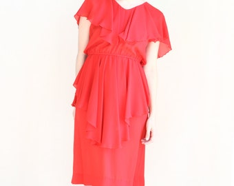red chiffon peplum overlay elastic waist oversized ruffle cocktail dress