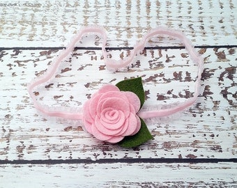 Pink Rose Headband, Felt Flower Headband, Newborn, Baby, Infant, Toddler, Girls, Women, Single Rose Headband, Rose Garland Headband