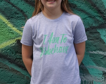 I Aim to Misbehave   Firefly Gray Kids Tee