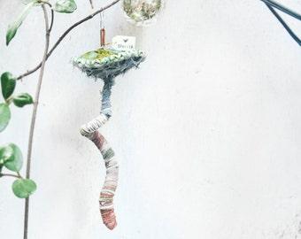 large fabric fridge mushroom, upcycled fungi ornament. Hand-stitched shroom
