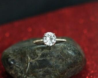 White Topaz Engagement Ring Glaucus Solitaire Round 2ct 8mm Promise Ring Custom White-Yellow-Rose Gold-10k-14k-18k-Platinum