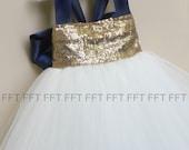 Ivory and Navy Blue Sequin Flower Girl Tutu Dress