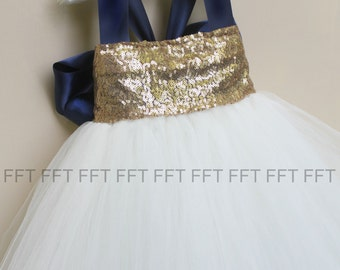 Ivory and Navy Blue Sequin Flower Girl Tutu Dress