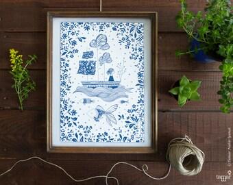Girl in a Boat - A4 Print