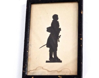 Antique American Full Body Military Silhouette Portrait, Early Soldier Silhouette