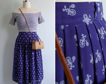 """10% Sale Code """"MAY10"""" - Vintage 80's 'Penny Farthing' Bicycle Blue Novelty Print Skirt XS or S"""