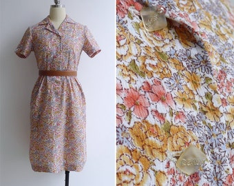 Vintage 80's 'Daily Dalliance' Peach Floral Shirtwaist Dress S or M