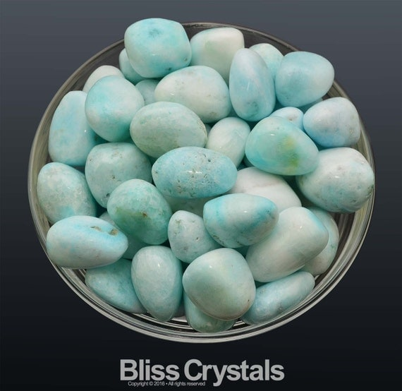Blue And White Marble : Lrg aragonite tumbled stone white to light blue crystal