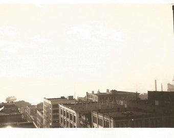 "Vintage Snapshot ""Sunrise"" Ferry Boat Leaving Dock Rooftops Lighting Clouds Found Vernacular Photograph"