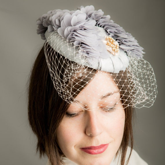 Dove Grey Ruffles & Pearls Cocktail Hat with Veil, wedding hat, bridesmaid fascinator, races hat