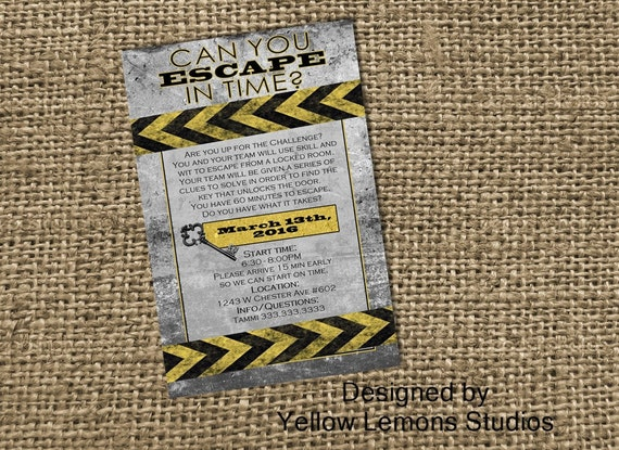 Escape room digital printable party invitation mystery for Escape room party