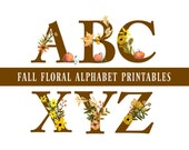 Fall Floral Alphabet Printables, Halloween, Thanksgiving, Fall Banner, Fall Garland, DIY Wall Art, Cards, Easy to download and print.