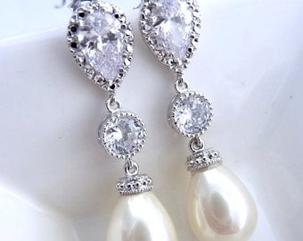 Wedding Earrings Bridal Earring IVORY Teardrop Pearl, Round CZ Drop with White Gold Plated Peardrop Cubic Zirconia Post Earring