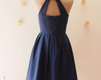 Love Potion - Navy Party Dress Blue Dress Navy Dress Backless Dress Cheap Bridesmaid Dress Wedding Summer Dress Cut Off Back Dress -S,M,L,XL