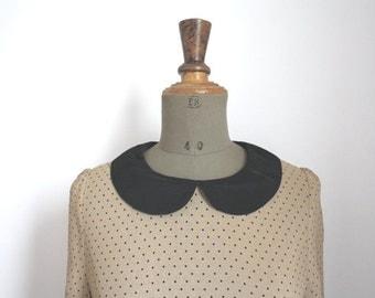 Vintage polka dot black blouse //