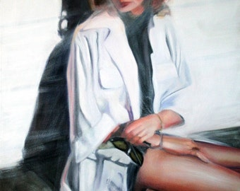 Original Oil Painting: Modern Look at Vintage Black & White Fashion