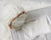 TRIBAL COLLECTION ~ Tribal Bonnet (Classic Newborn Bonnet, Baby Hat, Baby Bonnet, Lace Bonnet, Feathers, Organic, Natural, Crochet, Knit)