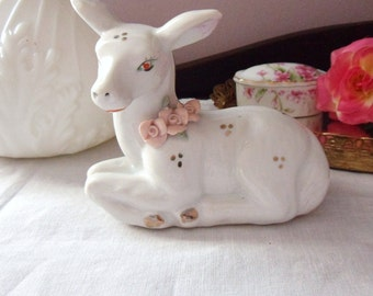 Cute Little White Deer with Pink Applied Roses, Fawn Figurine with Roses