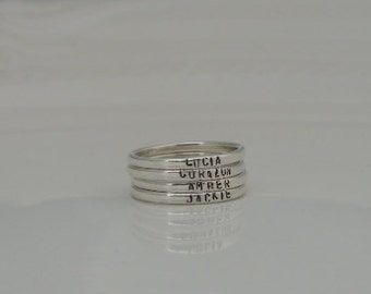 Stacking Rings - Name Rings - Sterling Silver - Hand Stamped - Stackable Rings - Organic Rings